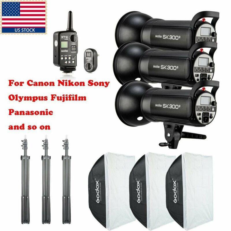 US 900W 3x Godox SK300II Studio Strobe Flash Light Head +Trigger+Softbox f Photo