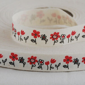 Zakka-Cotton-Ribbon-Sewing-Label-Tape-Red-Daisy-Flower
