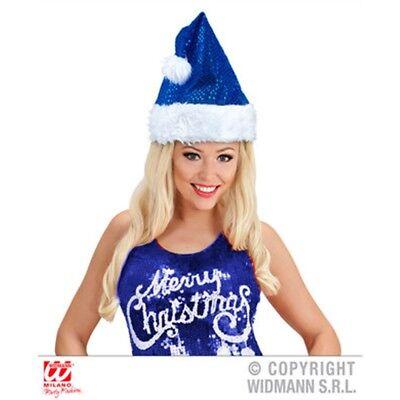 Blaue Damen Pailletten Weihnachtsmann Hut - Blue Ladies Sequin Santa Claus Hat
