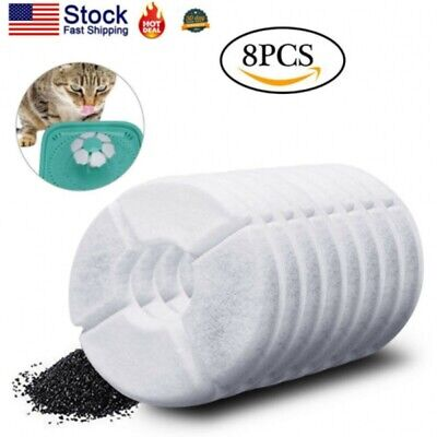 8Pcs Water Drinking Fountain Filter Replacement Filters for Pet Cat Dog Flower