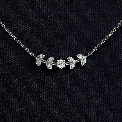 NATURAL DIAMOND FLORAL NECKLACE DAINTY PENDANT WHITE GOLD BRANCH LEAF PENDANT WG
