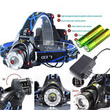 8000LM Zoomable CREE XM-L T6 LED Focus Headlight Head Lamp + 2PC 18650 + Charger