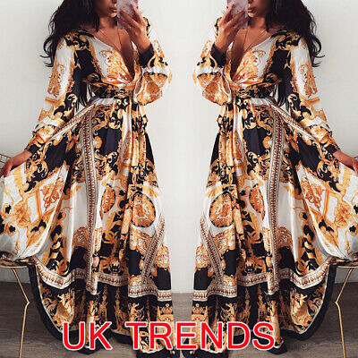 2019 Women Long Sleeve V Neck Floral Boho Vintage Maxi Dress Holiday Beach Dress