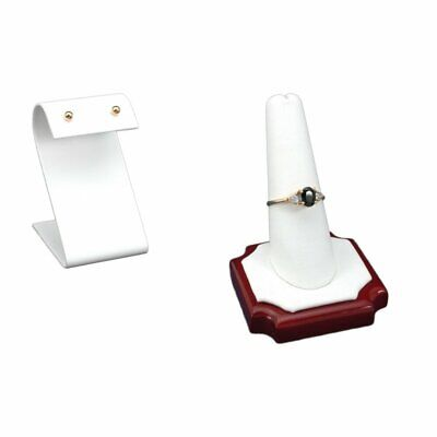 White Leather Earring Display,Ring Finger White Faux Leather Rosewood DisplayKit