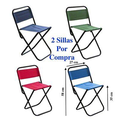 Silla plegable con respaldo camping pesca playa acampada portátil 2 Unidades