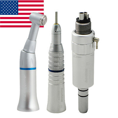 Dental Slow Low Speed Handpiece Kit 4 Hole Push Contra Angle Air Motor