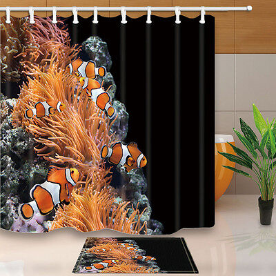 Sea anemone and clown fish Bathroom Shower Curtain Waterproof Fabric w/12 Hooks