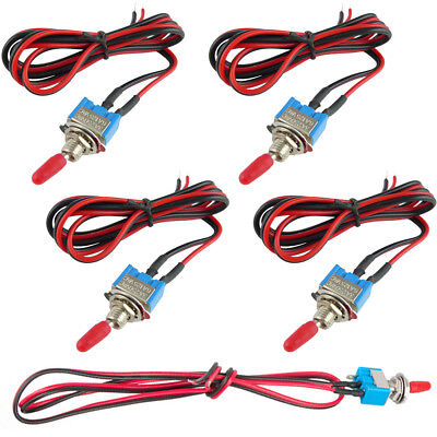 5pcs Mini Small Toggle Switch Wires Onoff Metal Automotive Boat Car Truck New