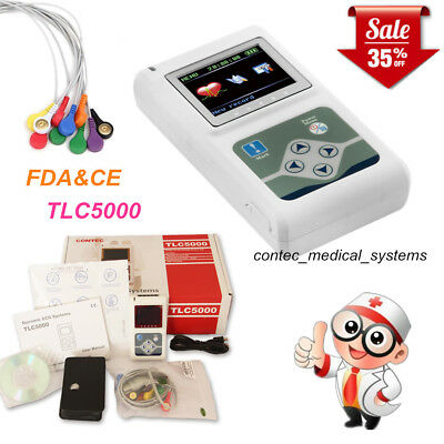 12-channel 24h Holter Monitor Ecg Ekg System Recorder Software Analyzertlc5000