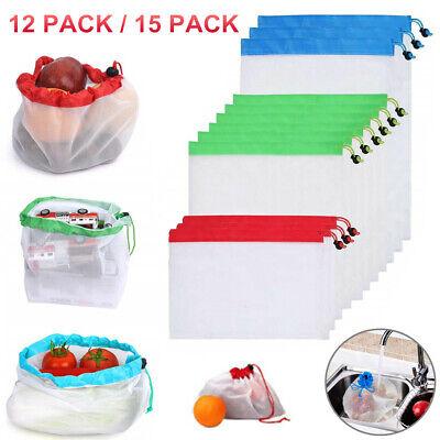15 Pack Reusable Produce Bags Black ROPE Mesh Vegetable Fruit Toys Storage Pouch - Fruit Bag