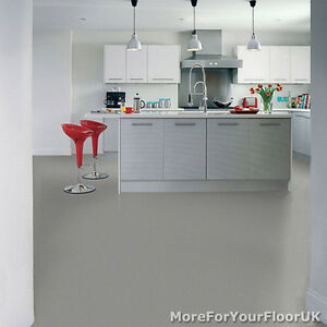 Plain Grey Vinyl Flooring 3m Wide Anti Slip Quality Lino
