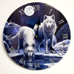 Warriors of Winter White Wolf Fantasy Home Decoration Lisa Parker Wall Clock