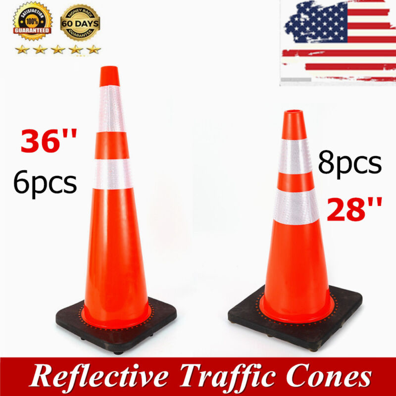 18/28/36 inch Traffic Safety Cones Fluorescent Reflective Road Street Cones PVC