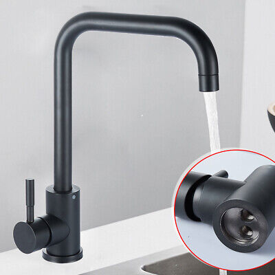 Stainless steel Hot&Cold Handle Kitchen Basin Black Faucet Mixer Swivel Tap