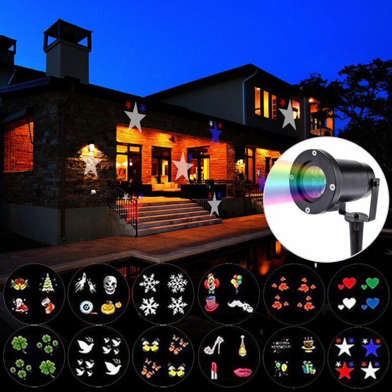 12 Muster LED Laser Licht Projektor Weihnacht Außen Beleuchtung Garten Lampe