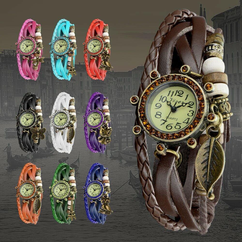 Damen Armbanduhr - Quarz Analog Uhr - Leder Damenuhr Braun Schwarz Vintage Neu