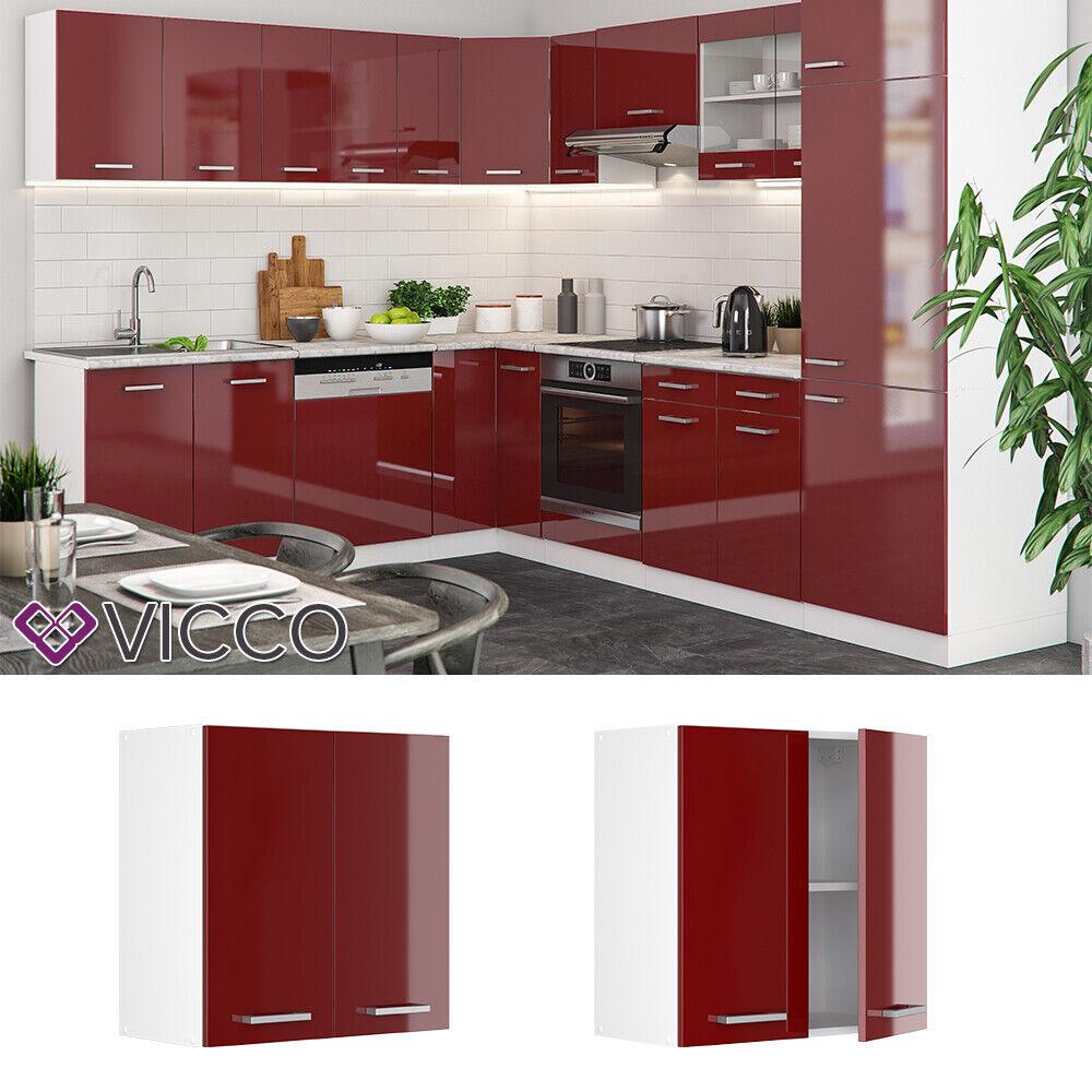 VICCO Küchenschrank Hängeschrank Unterschrank Küchenzeile R-Line Hängeschrank 60 cm bordeaux