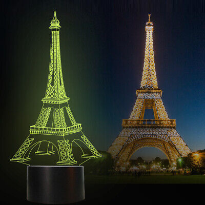 Eiffel Tower Lamps - Eiffel Tower 3D illusion Lamp Remote 16 Color Table Night Light Bedroom Kid Gift