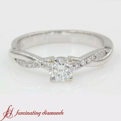 3/4 Carat Round Cut Diamond Infinity Twist Engagement Ring For Women In Platinum