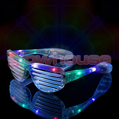 12 x LED Shutter Shades Flashing Glasses Rave Club Party Fancy Dress Light Up ()