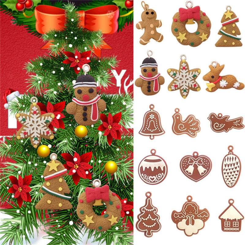 11Pcs Christmas PVC Chip Tree Ornaments Xmas Hanging Pendant Home Decor Gifts