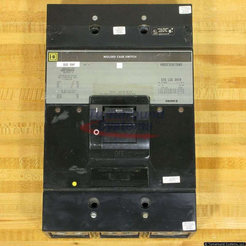 Square D Map36800 Circuit Breaker, 800 Amp 600 Volt, Used