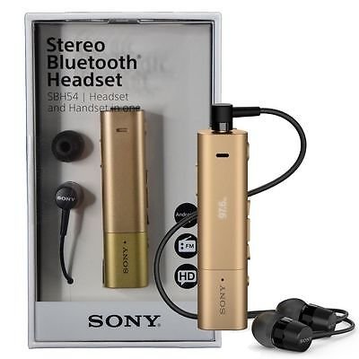 Headset Retail Box - Sony SBH54 Stereo Bluetooth Headset & Handset in one FM radio Retail Box - Gold