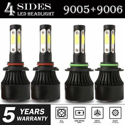 4 Side 9005 9006 Combo LED Headlight Kit High Low Beam Bulb 6000K 4800W 720000LM