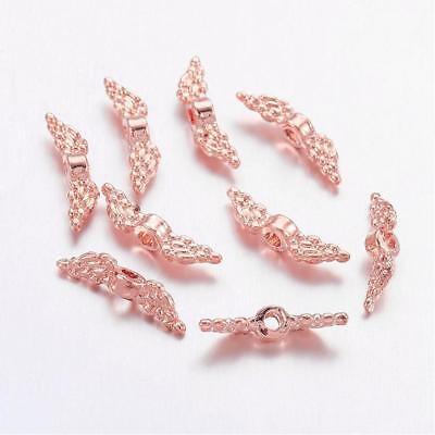 50 Stück Mini Flügel Rosegold Perlen Spacer basteln Engelsflügel (2226)