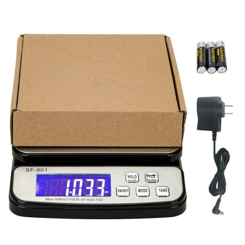 50kg Postal Scale 110lb x 0.1oz Digital Shipping Scale Weight Postage AC Adapter