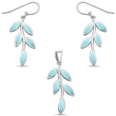 Natural Larimar Leaf Olive Branch .925 Sterling Silver Earring & Pendant Set