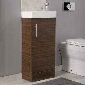 Walnut 400mm Cloakroom Vanity Unit & Basin