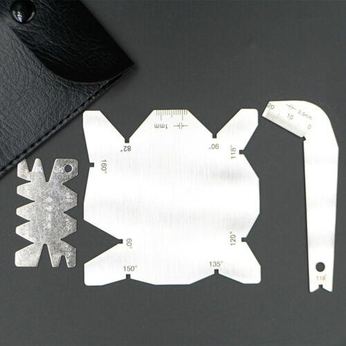 3Pcs Angle Gauge Set Sharpener Tools S/S Inspection Ruler Drill Bits With Bag