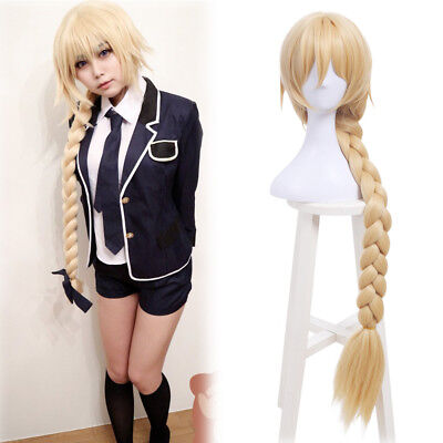 Fate/Grand Order Jeanne d'Arc Blonde Cosplay Wig Long Straight Braided Bang - Long Blonde Braided Wig