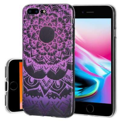 Soft Gel Premium TPU Graphic Skin Case for iPhone 8 Plus - Mandala Purple Zen for sale  Shipping to India