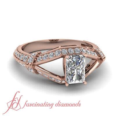 1.50 Carat Natural Radiant Cut Milgrain Border Split Vintage Diamond Rings GIA