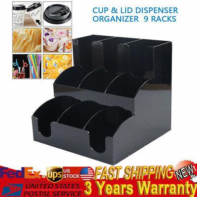 9 Racks Cup Lid Dispenser Organizer Coffee Condiment Caddy Food Cup Holder