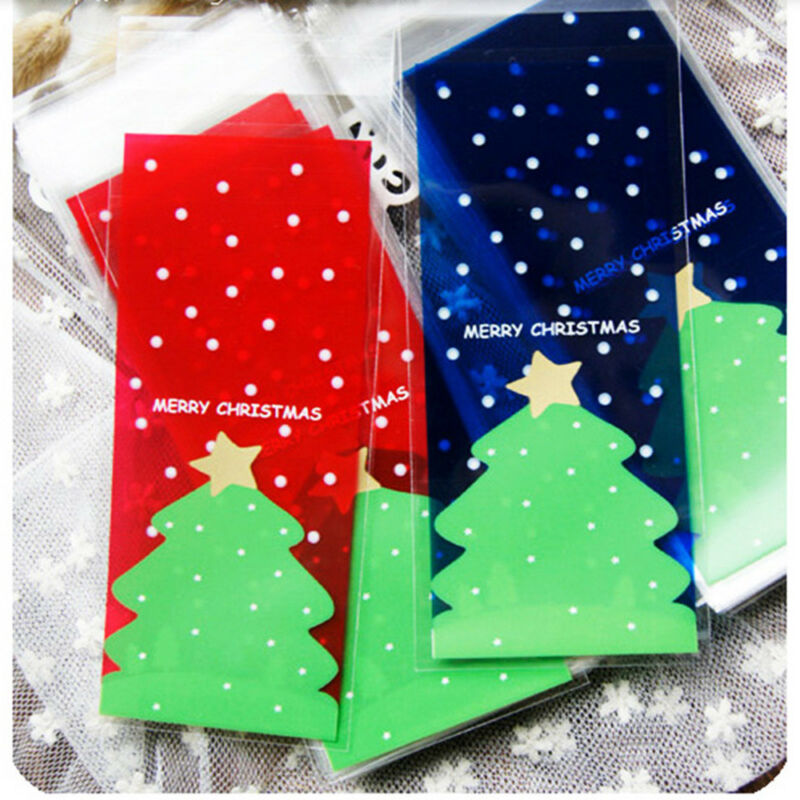 Details About 100pcs Christmas Cookies Bags Xmas Tree Diy Bag Gift Plastic Packaging Bag