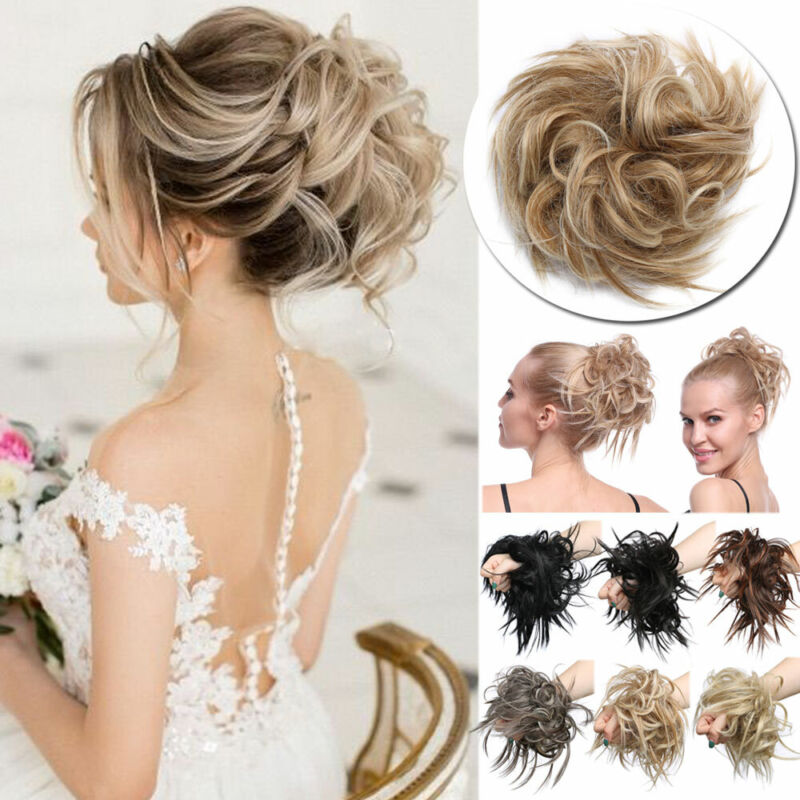 Details About Real Thick Messy Hair Scrunchie Wrap On Chignon Bun 100 Natural As Human Hair Uk