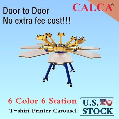Calca 6 Color 6 Station Screen Printing Machine Press T-shirt Printer Carousel
