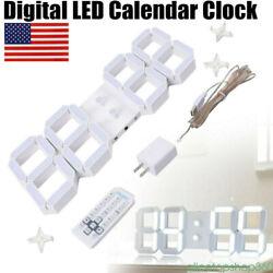 LED Wall Clock 17.3 3D Digital Timer Nightlight Watch Big Number Alarm + RC USA