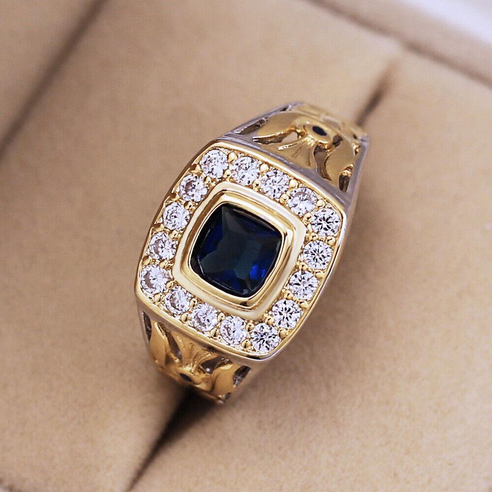 Vintage Two Tone Rings for Men/women 925 Silver Blue Sapphir