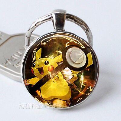 Pikachu Key Chain Ring Pokeball Pokemon Poke Silver Free Tracking Us Seller New