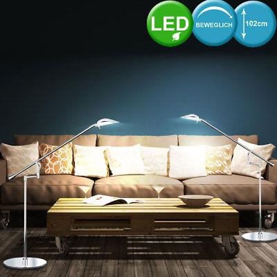 2x LED Steh Lampe Stand Leuchte Design Chrom Büro Lese Beleuchtung Wohn Zimmer ()