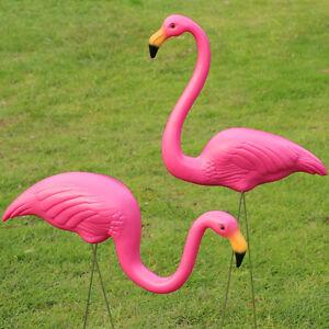 2Pcs Plastic Flamingo Lawn Figurine Garden Party Grassland Ornaments Decor New
