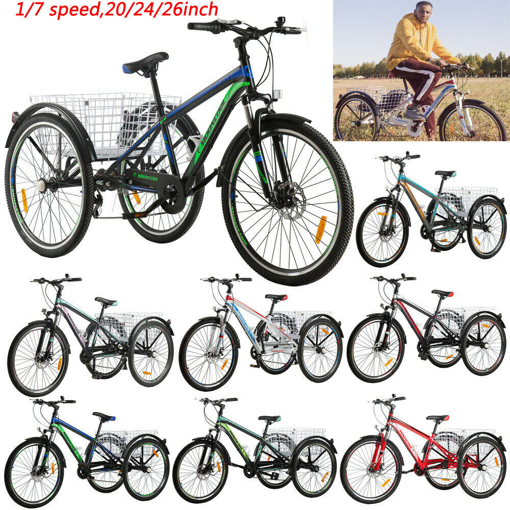 20/24/26inch 1/7 Speed Adult Mountain Tricycle 3 Wheel Bike