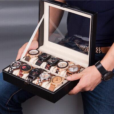 6/10 Slot Men Watch Box Leather Display Case Organizer Glass Jewelry Storage USA