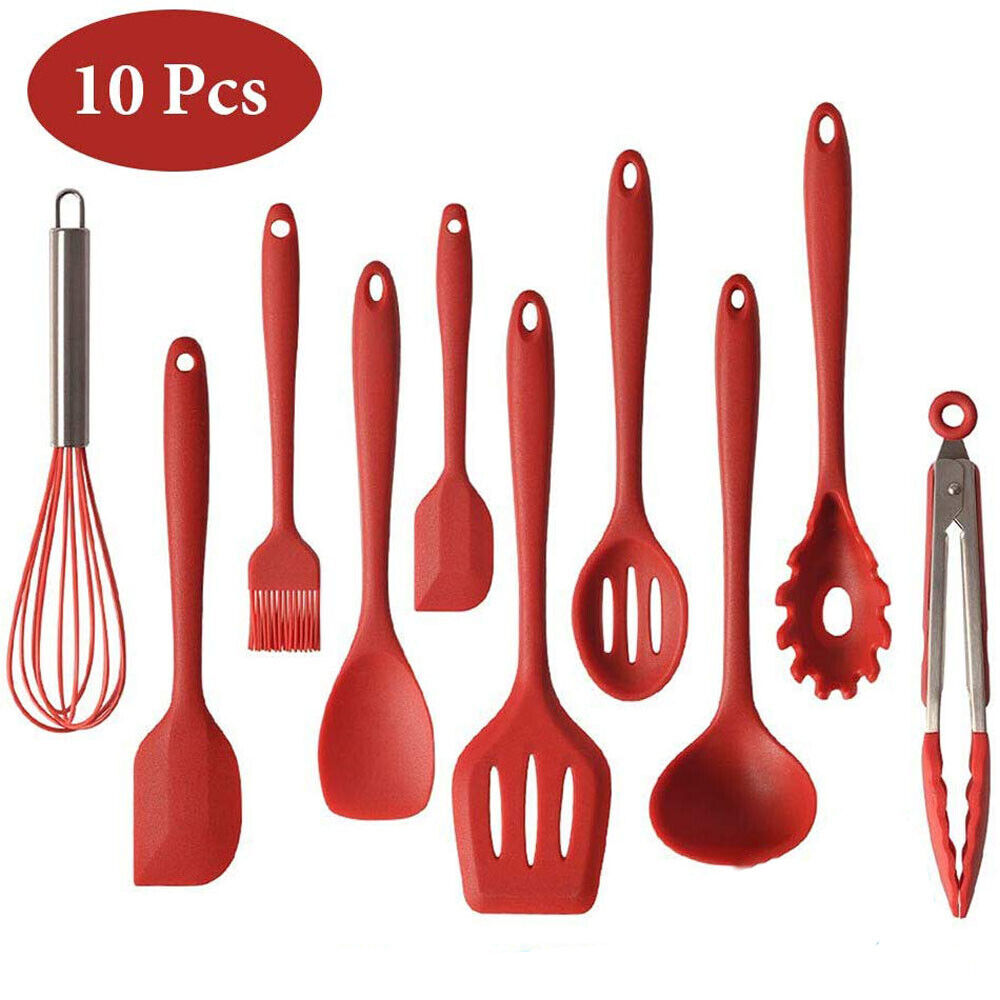 Silicone Kitchen Utensils Set of 10 Heat Resistant NonStick Cooking Tools US
