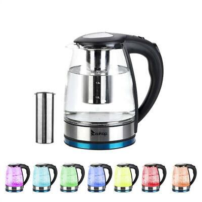1500W 1.8L Electric Water Tea Kettle Colourful LED Light Gla