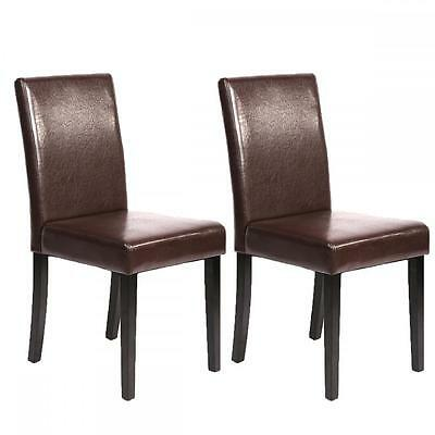 Set of 2 Brown Leather Contemporary Elegant Design Dining Chairs Home Room U42